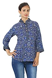 Printed Chinese Collar Blue Top