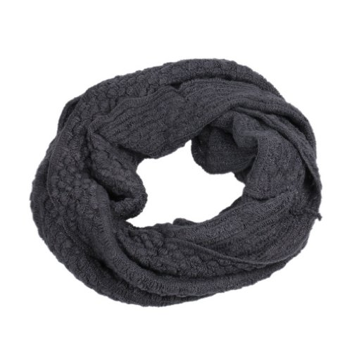 Eozy Corn Niblet 2 Circle Cable Knit Cowl Neck Shawl Wraps Scarves Dark Gray