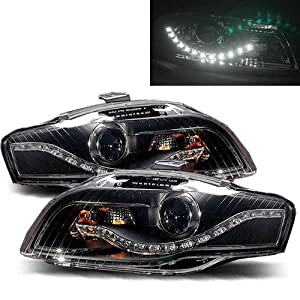 Audi S4 2006-2008 LED Halo Headlights Black (Fits: Base Sedan 4-Door)