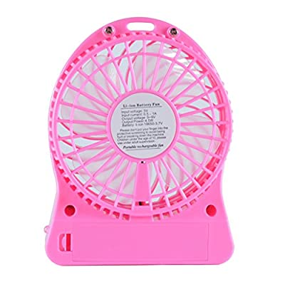 HOOYEE 4-Inch 3 Speeds Portable Mini Personal Battery Operated Fan Rechargeable Handheld Desktop Usb Fan with LED Light,Quiet, Great for Outdoor, Hiking, Camping, Travelling, Indoor and More (Red)