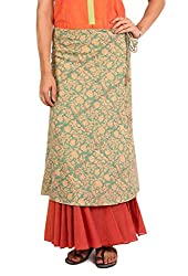 INDIAN AUGUST WOMEN'S COTTON DOUBLE LAYERED SKIRT_S-6A_TEAL_M