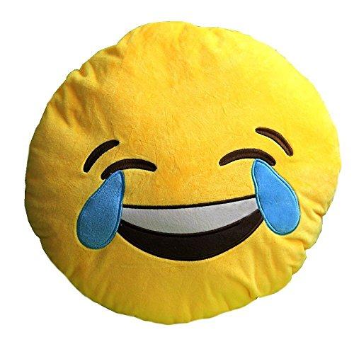 Heroneo 174 Soft Emoji Smiley Emoticon Yellow Round Cushion