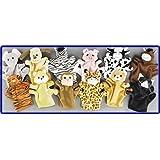 1 Dozen Velour Animal Finger Puppets Kids TOY Preschool Kindergarten