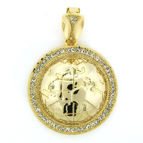 Men'S Iced Out Hip Hop 14K Gold Plated Crystal Iced Eath Pendant