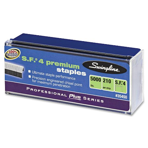 Swingline S.F. 4 Premium Chisel Point Staples, 0.25 Inch Leg Length, 1 Box, 5,000 Staples per Box, Silver (S7035450)