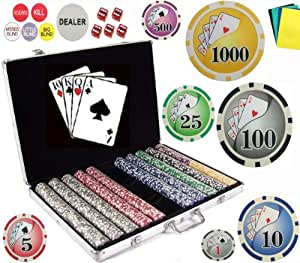Bluff King Vegas Style 11.5 Gram Casino Gambling Poker Chip Set (1000 Chips) with Storage Case and Gaming Accessories.