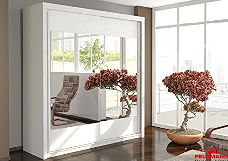 Schwebeturenschrank 110040 Kleiderschrank 2-turig weiß / Spiegel 200cm