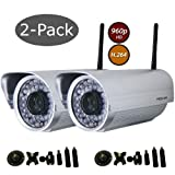 Foscam FI9805W 2-Pack 1.3 Megapixel 1280 x 960P Wireless Outdoor IP Camera with Universal Bracket