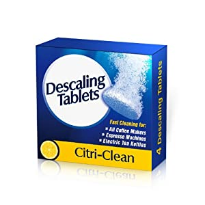 "Descaling Tablets - 4 Fast-Action Decalcifying Tablets Extend the Life of All Coffee Makers, Espresso Machines and Electric Kettles - Includes FREE eBook: ""7 Secrets to Great-Tasting Coffee"" - Works For All Coffee Maker Brands - 90 Day Money Back Guarante"