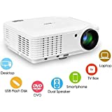 EUG Home Theater Projector Multimedia Smart Projectors, Full HD 1080P 720P Ready, With Keystone HDMI, For Video...
