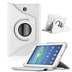 TGK Leather 360 Degree Rotating Case Cover for Samsung Galaxy Tab 4 7.0 Inch T230,T231,T235 - White