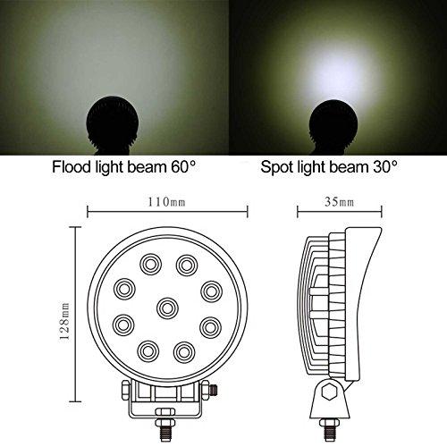 27W LED Flood travail entraînement auxiliaire activités en plein air Off Road Lampe DRL moto / cycle de ramassage de voitures Van ATV véhicule Camion Bateau SUV 4WD x1PC (Flood Faisceau de lumière)