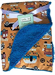 Lambs and Ivy, Baby Boy Blankets, Warm and Cozy, Extra Soft Micro Plush Fleece Blanket, Anti-Pilling, TRANSPORTATION 2 Theme Orange on a Sherpa, Choice or Sherpa Colors, 30 x 40 in (Teal Sherpa)
