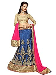 Jiya Presents Embroidered Net Lehenga Choli(Blue,Beige)