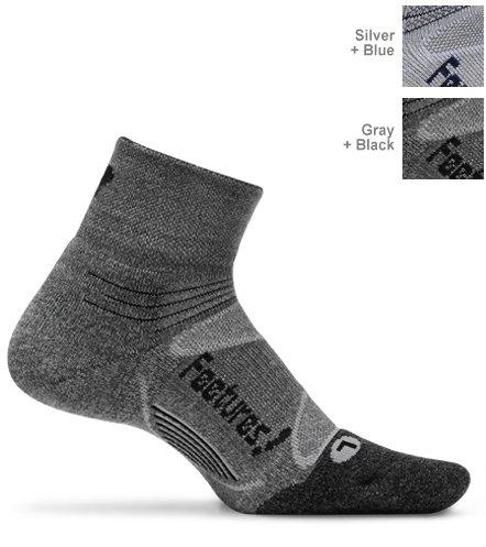 Feetures Feetures! Elite Merino+ Light Cushion Quarter Running Socks, Gray/Black, Medium