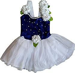 Cute Fashion Kids Girls Baby Princess Party Flower Dresses Skirt Clothes 2 - 3 Years (Blue)