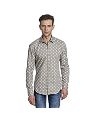 Edjoe Mens Gray Printed Slim Fit Casual/Party Wear Shirt, BLEDMS0011