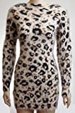 Womens Ldies Furr Leopard Print Knitted Long Sleeve Wool Jumper Dress Top 10 12 14 16â