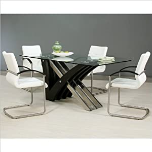 Pastel Furniture Akasha 5 Piece Glass Top Dining Table Set in Steel and