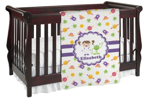 Girls Space Themed Personalized Baby Blanket front-819199