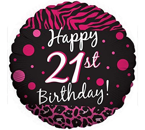 2 BALLOONS new 21ST BIRTHDAY party BLACK hot PINK ZEBRA print CHEETAH leopard POLKA DOTS