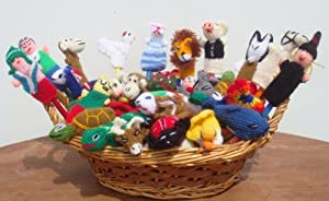 Arrival Peruvian Assortment Variety Of Animals, Insects, Birds And People 10 Finger Puppets Toys Hand Knitted by The Little Alpacas House