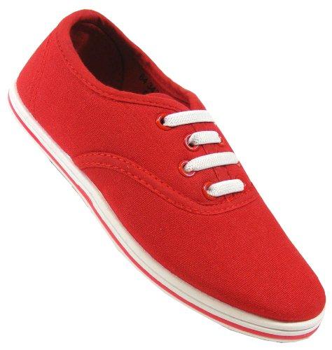 New Girls Kids Red Canvas Shoes Flats Shoe Plimsolls Flat Pumps Sz Size 10 11 12
