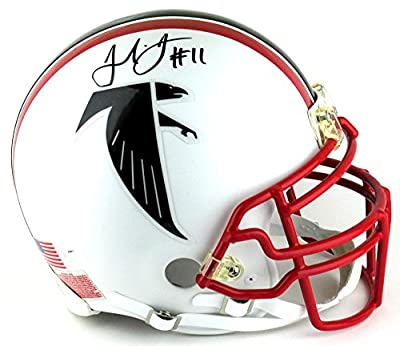 Julio Jones Signed Helmet - Throwback Authentic Custom White Matte - Autographed NFL Helmets