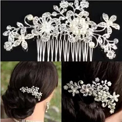Sunshiny Elegant Wedding Bridal Hair Comb Pearl Crystal Flower Design Hair Clip Side Comb Pin Bridal Headpiece for Bridesmaids