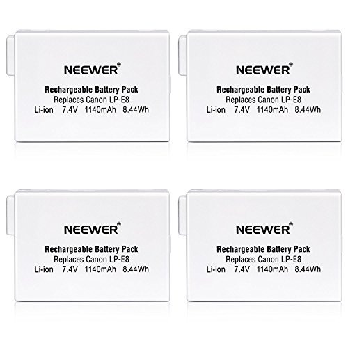 Neewer® (4 Pack) Rechargeable Replacement LP-E8 Li-ion 7.4V 1140mAh Battery for BG-E8 Battery Grip, Canon EOS 550D 600D 650D 700D Digital Rebel T2i T3i T4i T5i (T4i Battery Grip compare prices)