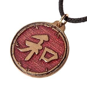 Large Heiwa Red Enamel Pendant Necklace on Adjustable Natural Fiber Cord