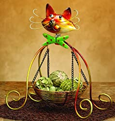 "15"" Suspended Table Top Basket with Spring Motion Friendly Kitty Cat Face"