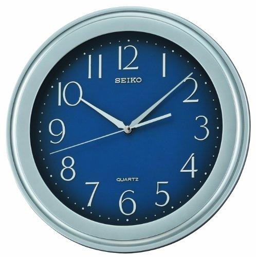 Bold seiko quartz wall clock silver plastic case blue dial for Seiko quartz wall clock