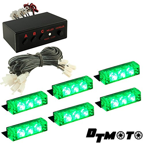 Green 18X Led Volunteer Service Private Vehicle Led Grille Warning Strobe Light - 1 Set