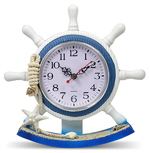 Nautical Clocks - Sailboat Steering Wheel Helm Decoration - Nautical Decor - Beach Decorations - 8.5 Inch (Ship Steering Wheel Table compare prices)