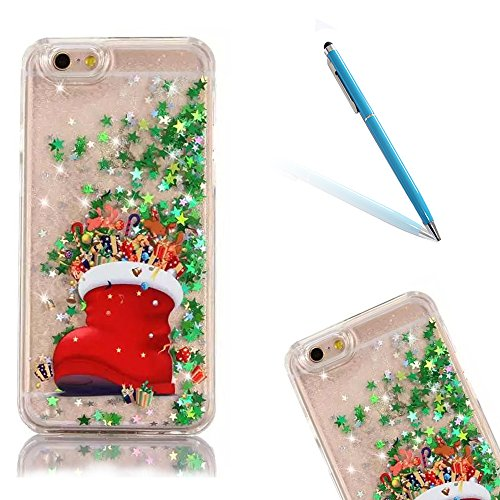 iPhone 5 Cassa Case,iPhone 5S Custodia,CLTPY Christmas Disegno Modello Serie Bling Glitter Verde Stella PC Protettiva Skin per iPhone SE,Trasparente Flowing Fluente Liquid Hard Premium Bumper Caso per Apple iPhone 5/5S/SE - Stivali di Natale + 1x Stilo