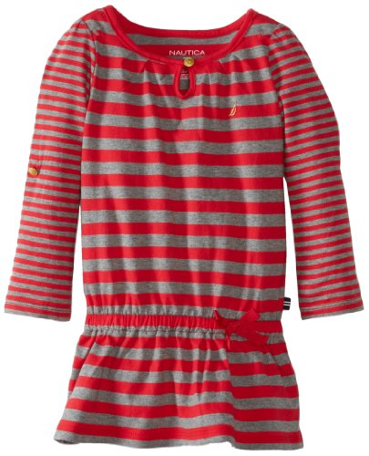 Nautica Little Girls' Jersey Stripe Dress, Red, 3T