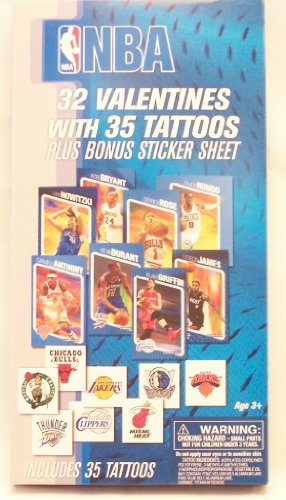 NBA Valentine's Day Cards - 32 Cards 35 Tattoos Plus Sticker Sheet - 1