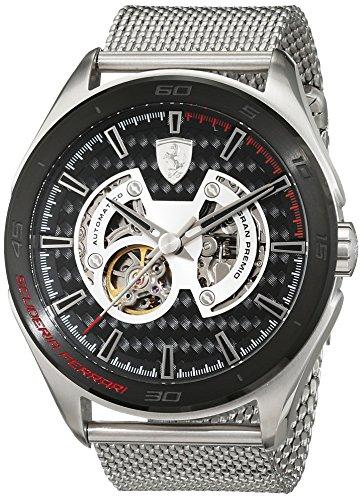 Scuderia Ferrari OROLOGI-Gran Premio-Reloj de pulsera analógico automático para hombre acero inoxidable 0830349