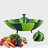 Folding Non-scratch Vegetable Steamer Basket, Kitchen Cooking Tool, Green