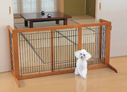 Richell Wood Freestanding Gate, High-Small, Autumn Matte Finish