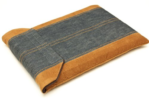 CushCase Premium Sleeve / Case for Apple MacBook Pro 15 inch with Retina Display (Tan Corduroy/Dark Blue Denim)