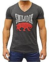 """SMILODOX V-Neck Herren T-Shirt Regular Fit mit """"Classic""""Aufdruck in verschiedenen Farben"""