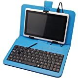 7 inch micro USB universal tablet keyboard case Lenovo IdeaTab A1000 blue