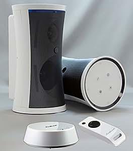 """Funklautsprecher Funk-Boxen Stereo Outdoor """"SONDER-ANGEBOT"""" Wireless Spritzwasserfest Inkl. Fernbedienung + Wandhalterung (Edel-Weiss oder in Schwarz erhältlich)"""