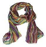 ASVP Shop ® Latest Women's Fashion Scarf / Scarves - Print Designs (Pink/Yellow Rainbow Print)