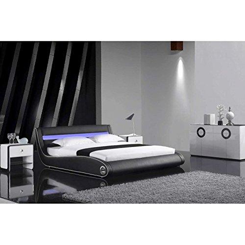 JUSThome Getano LED Schwarz Polsterbett Ekoleder Größe 140×200 cm günstig kaufen