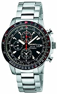 Seiko Men's SSC007 Stainless Steel and Black Dial Watch