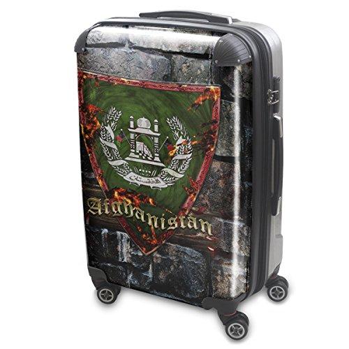 Blason Afganistan, Luggage Bagage Trolley Valise de Voyage Rigide, 360 degree 4 Roues Valise avec Echangeable Design Coloré. Grandeur: Grand, L