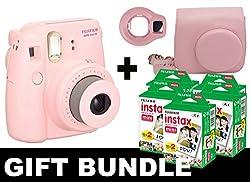 Fujifilm Instax Mini 8 Camera + 100 Pack Instax Film + Case + Selfie Mirror (Pink)